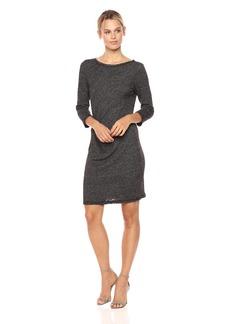 Three Dots Women's Marled Slub Pleated Long Tight Dress
