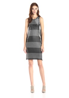 Three Dots Women's Metallic Stripe Dress with Ponte Back and Pockets