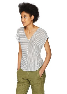 Three Dots Women's Mojave Stripe Short Loose tee Night iris