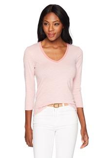 Three Dots Women's Montauk Stripe 3/4 SLV Short Tight v-Neck Shirt Pink kiss