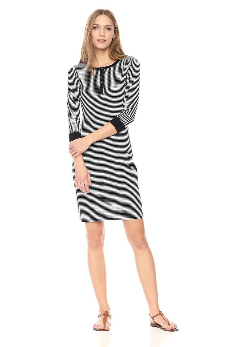 Three Dots Women's Montauk Stripe Henley Tight mid Dress