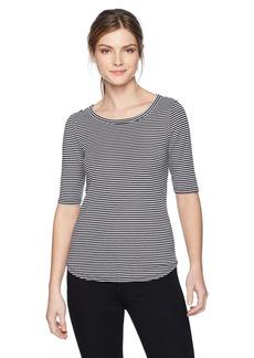 Three Dots Women's Montauk Stripe Tie Back Tight Mid Shirt