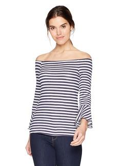 Three Dots Women's Nantucket Stripe Off Shoulder mid Loose Shirt