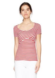 Three Dots Women's Nantucket Stripe Terry Crossover Mid Tight Shirt