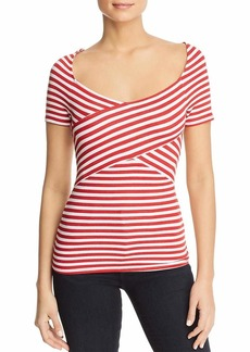 Three Dots Women's Nantucket Stripe Terry Crossover mid Tight Shirt White/red Extra Large