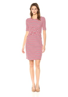 Three Dots Women's Nantucket Stripe Terry Tight Mid Dress