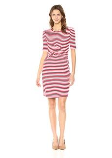 Three Dots Women's Nantucket Stripe Terry Tight mid Dress White/red