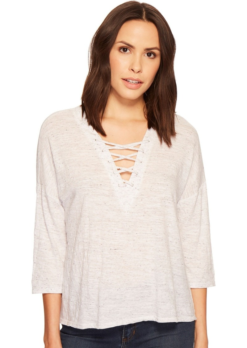 Three Dots Women's nepps Jersey 3/4 SLV mid Loose Shirt