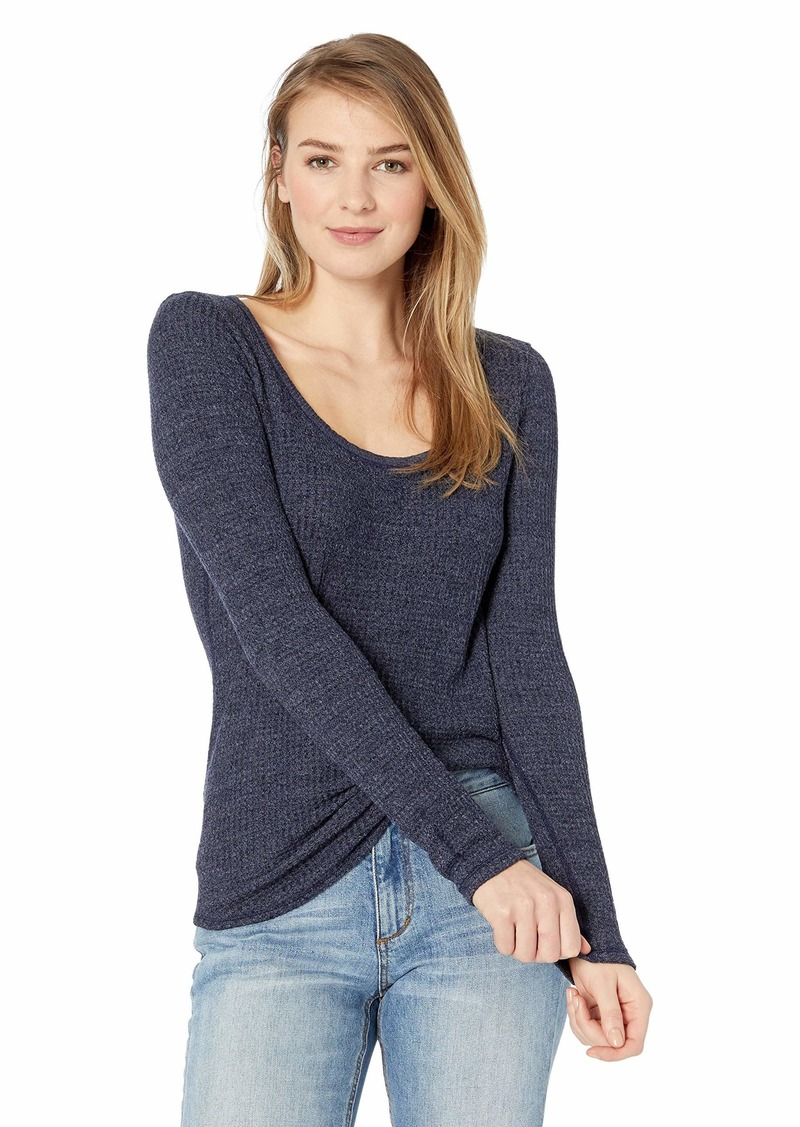 Three Dots Women's NN2782 Chunky Heather Thermal Scoop Neck Midnight