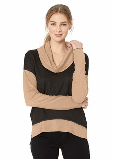 Three Dots Women's OW2713 Reversible Colorblock Knit Funnel Neck top black/camel
