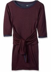 Three Dots Women's OW5845 Colorblock Knit tie Dress Aubergine/Night iris
