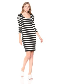 Three Dots Women's OZ5857 Alpine Stripe Puff SLV Dress