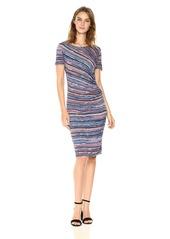 Three Dots Women's Painterly Stripe Short Sleeved Ruched Dress Night iris Combo M