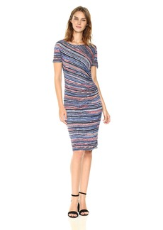 Three Dots Women's Painterly Stripe Short Sleeved Ruched Dress Night iris Combo M