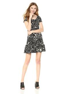 Three Dots Women's Palm Print Short Loose Dress  Extra Large