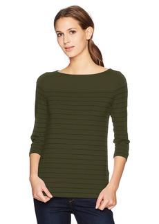 Three Dots Women's Pinstripe 3/4 SLV British mid Shirt  Extra Small