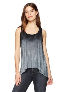 Three Dots Women's Pleated Ombre Short Loose Tank