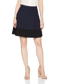 Three Dots Women's Ponte Colorblock Short Skirt Night iris/Black Extra Small