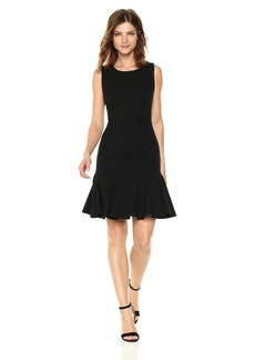 Three Dots Women's Ponte Fit and Flare Seamed Mid Tight Dress  Extra Large