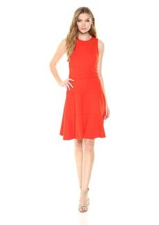 Three Dots Women's Ponte Seamed Short Tight Dress
