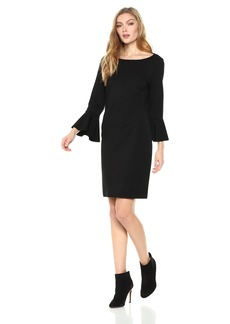 Three Dots Women's Ponte Shift Loose Short Dress
