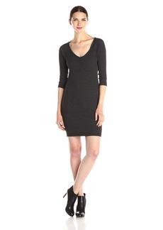 Three Dots Women's Poor Boy Rib 3/4 Sleeve Dress