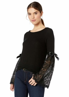Three Dots Women's QQ2789 Brushed Sweater W/LACE SLVS