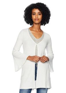 Three Dots Women's QQ7423 Brushed Sweater Cardigan ash