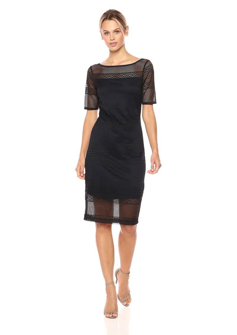 Three Dots Women's Rashel lace 1/2 SLV mid Tight Dress Black/Night iris