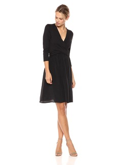 Three Dots Women's Refined Jersey Draped mid Loose Skirt Black