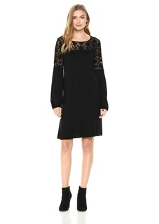 Three Dots Women's Refined Jersey Embroidered Loose Long Dress  Xtra Large