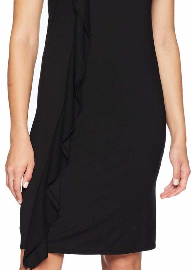 Three Dots Women's Refined Jersey Ruffle Loose Short Dress