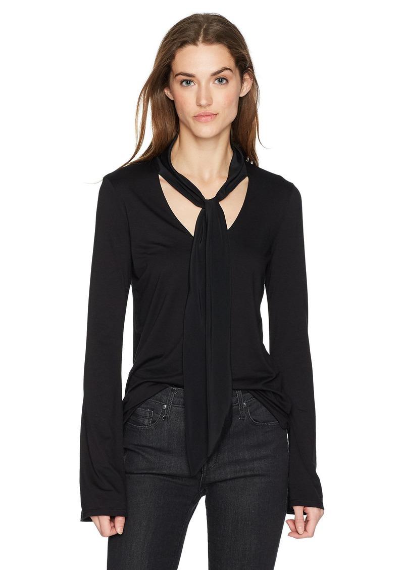 Three Dots Women's Refined Jersey v Neck Long Loose Shirt Black