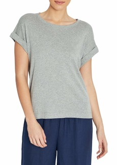 Three Dots Women's Relaxed Fit Short Sleeve Top