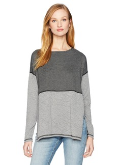 Three Dots Women's Reversible Stripe l/s Tee Long Loose Shirt