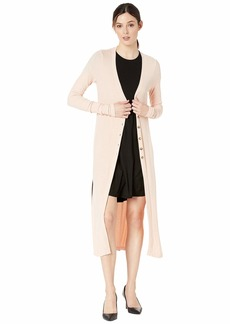 Three Dots Women's Ribbed Long Cardigan with Slits