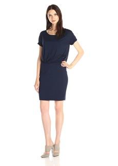 Three Dots Women's Rolled Sleeve Drop Waist Dress