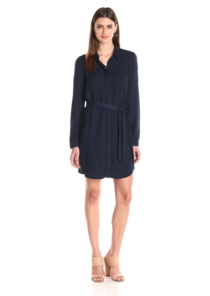Three Dots Women's Shirt Dress With Tie  Large