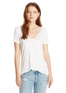 Three Dots Women's Short Sleeve Double V Tee