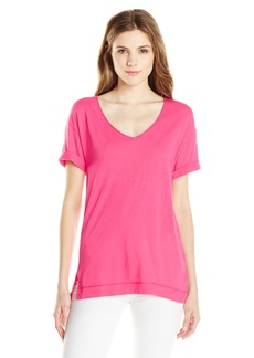 Three Dots Women's Short Sleeve Easy Fit V Neck Tee
