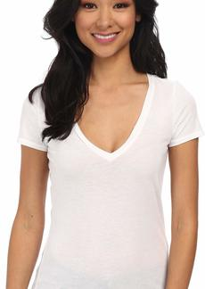 Three Dots Women's Short Sleeve Light Weight V Neck
