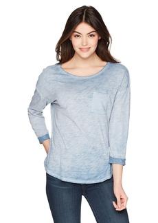 Three Dots Women's slub Jersey 3/4 SLV Loose mid Hem Shirt sea Glass