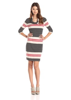 Three Dots Women's Soho Stripe 3/4 Sleeve Cowl Dress