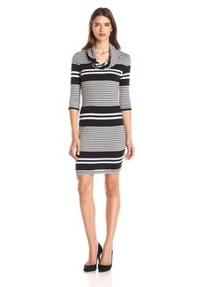 Three Dots Women's Soho Stripe 3/4 Sleeve Cowl Dress