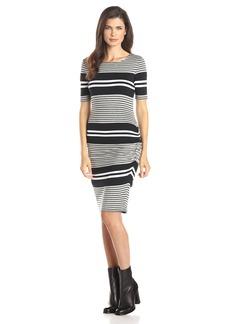 Three Dots Women's Soho Stripe Rouched Dress