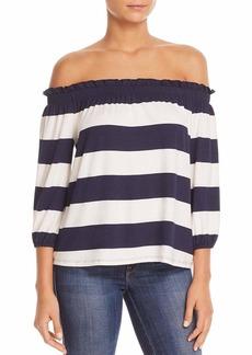 Three Dots Women's South Hampton Stripe mid Loose Off Shoulder top