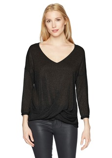 Three Dots Women's Sparkle Sweater Loose Mid Shirt