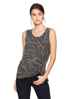 Three Dots Women's Squiggle Burnout Twist Long Loose Tank