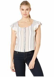 Three Dots Women's Stripe Button UP Flutter SLV TOP