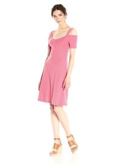 Three Dots Women's Stripe Cold Shoulder Dress  L